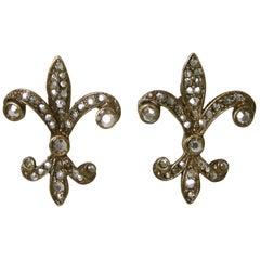 Vintage Fleur des Lis Marcasite Earrings