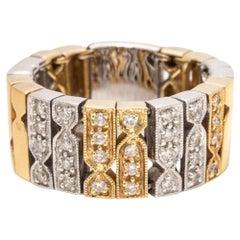 Vintage Flexible Fancy Link 18 Karat Multi-Color Gold Diamond Ring