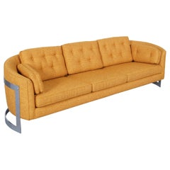 Vintage Floating Chrome Sofa Attributed to Milo Baughman