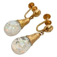 Vintage Floating Crushed Opal Drop 14 Karat Yellow Gold Screw Back Earrings