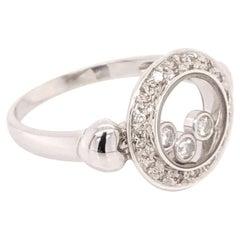 Vintage Floating Diamond 18 Karat White Gold Ring Estate Fine Jewelry
