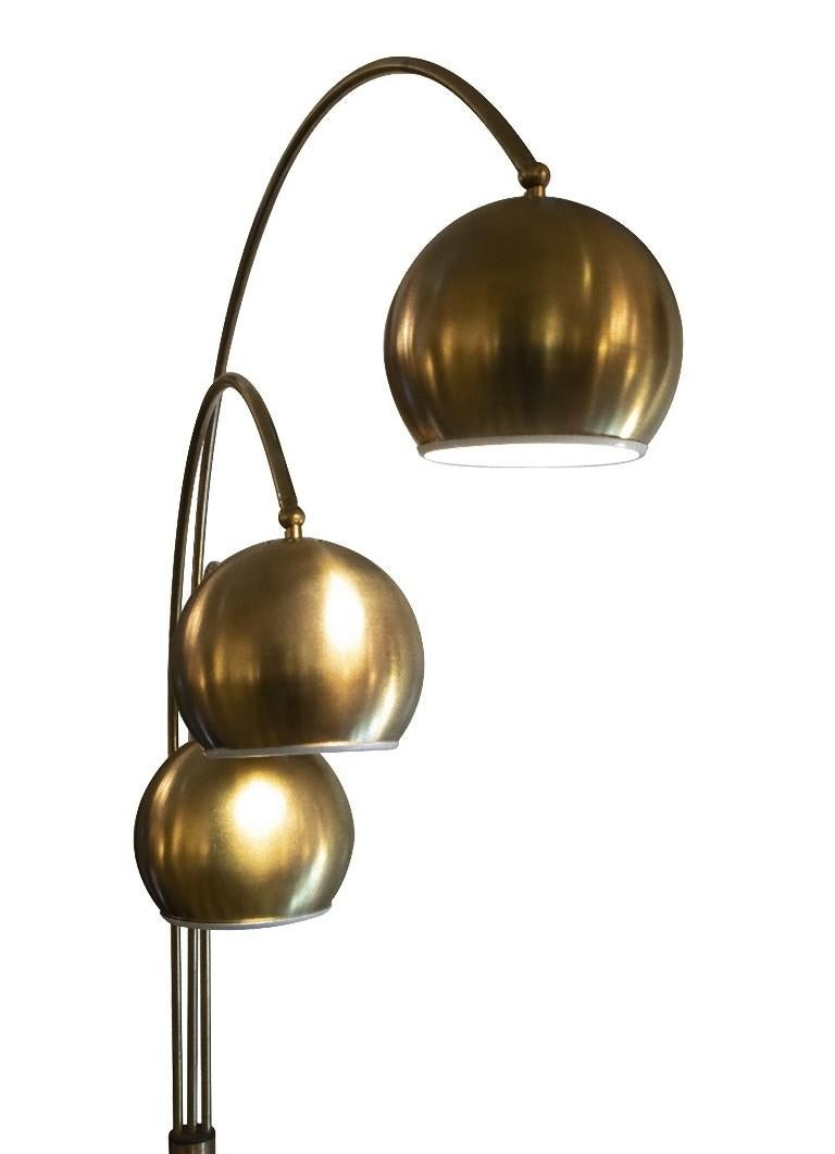 Floor lamp by Goffredo Reggiani is an original design lamp realized in the 1970s.  The lamp is realized with three spherical lights.  Created and produced by Reggiani. Made in Italy.   Excellent conditions.   Founded in 1957 in Italy,