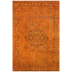 Vintage Floral Anatolian Rug, Overdyed in Orange