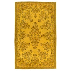 7.2x11.6 Ft Vintage Handmade Turkish Floral Garden Wool Rug Over-Dyed in Yellow