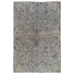 Vintage Floral Area Rug Over-Dyed in Gray, Blue, Hand-Knotted Wool Rug