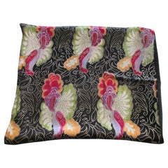 Vintage Floral Black and Red with Colorful Flowers Shawl