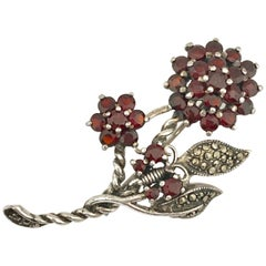 Vintage Floral Butterfly Brooch with Garnets & Marcasites set in Sterling