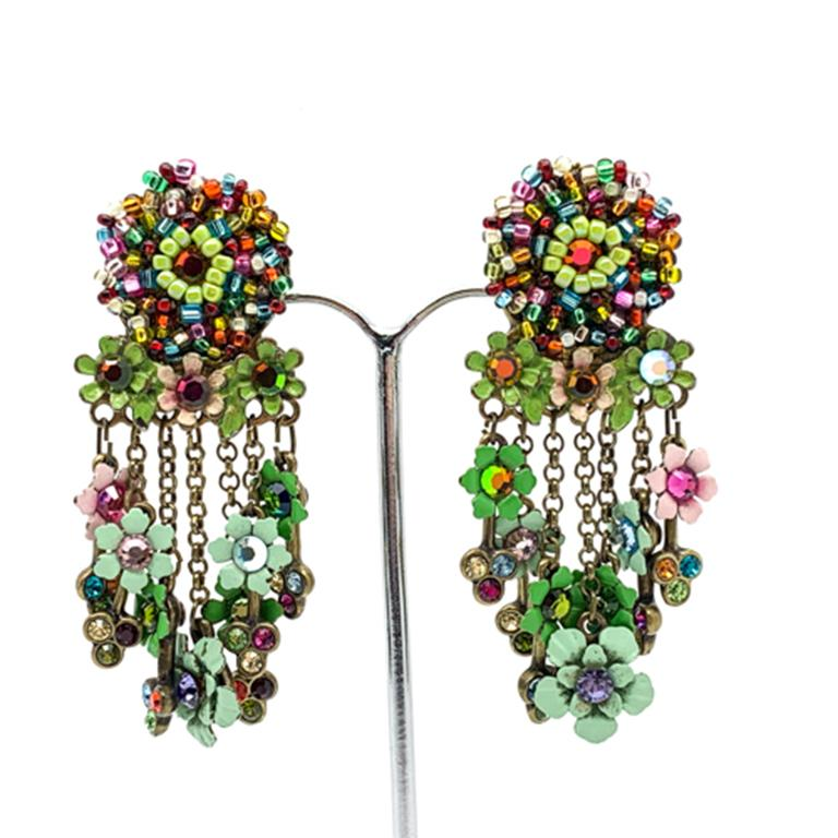 Vintage Floral Cascade Earrings In Good Condition For Sale In Wilmslow, GB