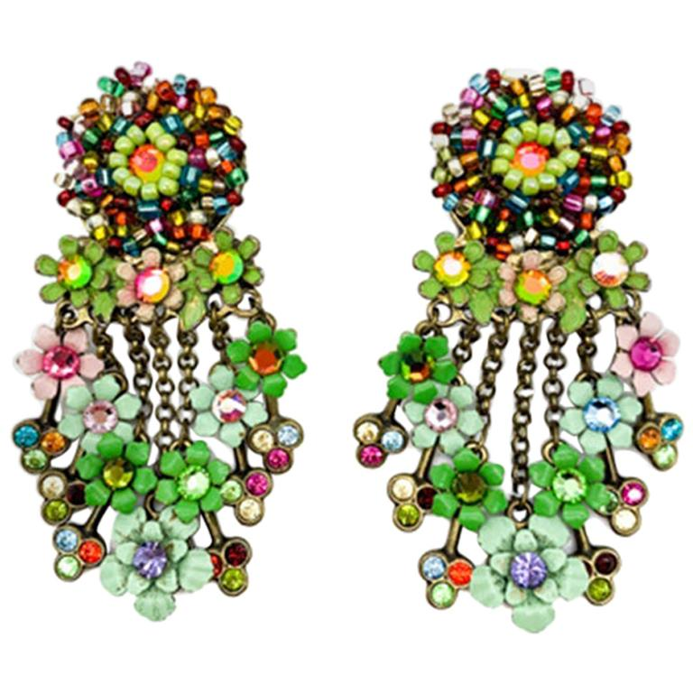 Vintage Floral Cascade Earrings For Sale