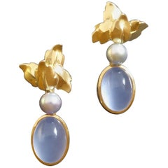Vintage Floral Chalcedony Pearl Gold Clip Post Earrings Signed
