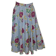 Vintage Floral Cotton Skirt by Gerroll Model London