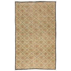 4.8x6.4 Ft Vintage Floral Design Anatolian Rug, 100% Wool Hand-Knotted Carpet