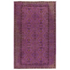 6x9.2 Ft Vintage Turkish Area Rug with Floral Design Over-Dyed in Purple Color