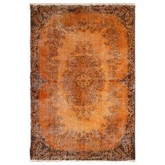 Vintage Floral Design Rug Overdyed in Orange Color