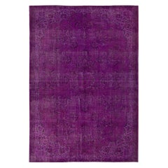 7.5x10.6 Ft Vintage Floral Turkish Area Rug Over-Dyed in Purple for Modern Homes