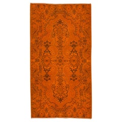 Vintage Floral Design Turkish Rug Overdyed in Orange Color
