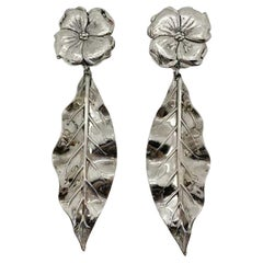 Vintage Floral Gunmetal Statement Leaf Earrings 1990s