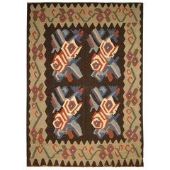 Vintage Floral Kilim Rug Handmade Flat weave Carpet
