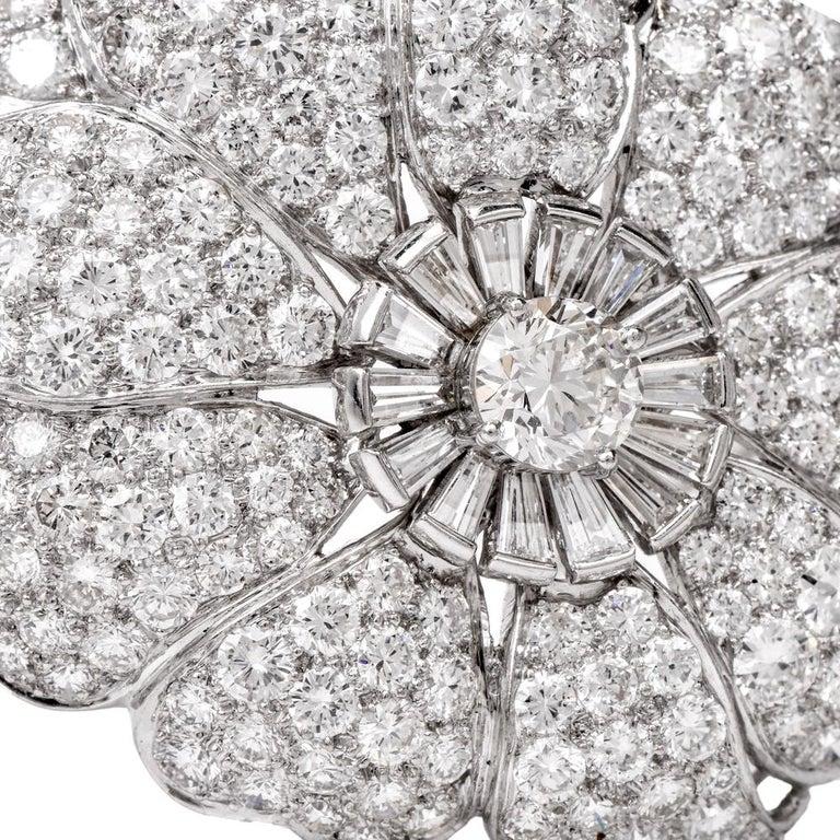 Women's Vintage Floral Motif Diamond Platinum Lapel Pin Brooch Pendant For Sale