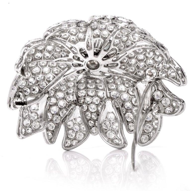 Vintage Floral Motif Diamond Platinum Lapel Pin Brooch Pendant For Sale 1