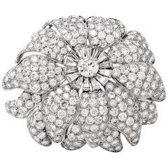 Vintage Floral Motif Diamond Platinum Lapel Pin Brooch Pendant