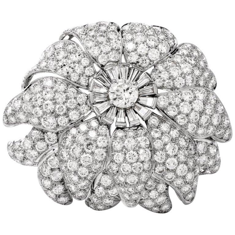 Vintage Floral Motif Diamond Platinum Lapel Pin Brooch Pendant For Sale