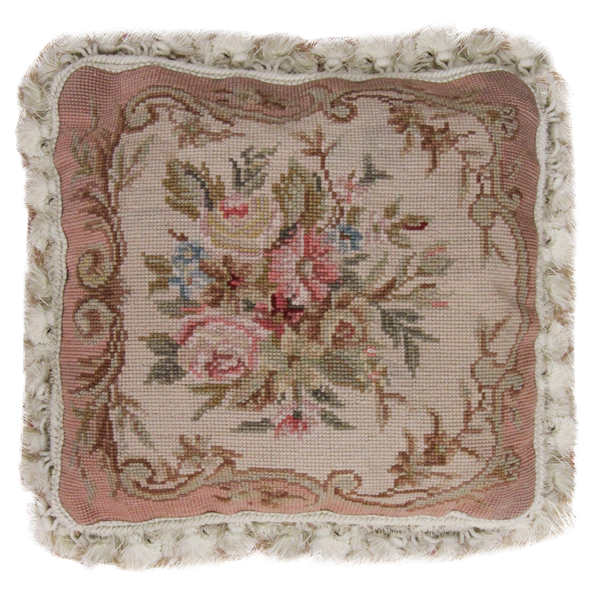 Vintage Floral Needlepoint Cushion Cover Handwoven Oriental Scatter Pillow