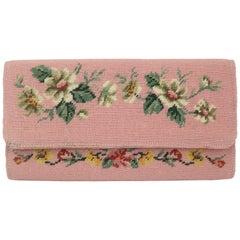 Vintage Floral Needlepoint Envelope Clutch Handbag