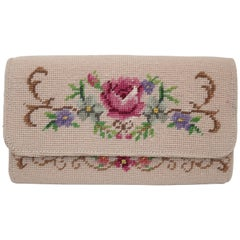 Vintage Floral Needlepoint Envelope Clutch Handbag