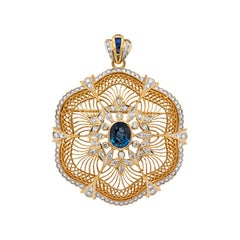 Vintage Floral Openwork Sapphire and Diamond 18 Carat Gold Brooch