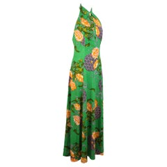 Vintage Floral Party Cocktail American Neckline Long Green Handmade Dress 1980s