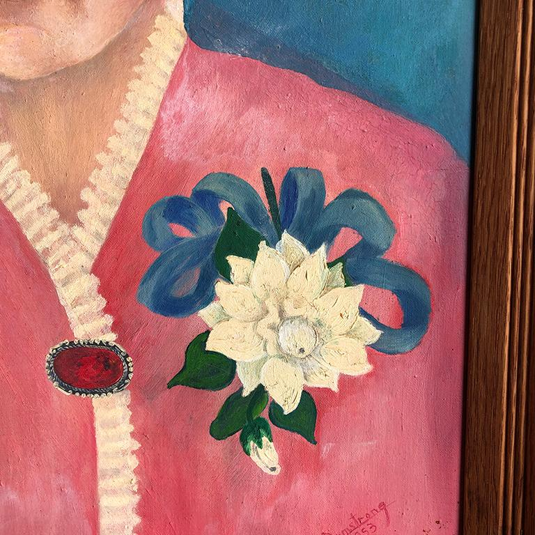Canvas Vintage Floral Portrait of Lady in Blue Pink in Wood Frame gallery wall signed