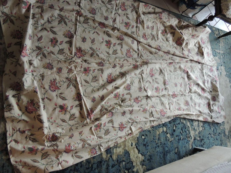 English Vintage Floral Printed Textile Panel For Sale