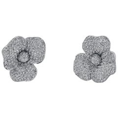 Vintage, Floral Quality Round Pave Earrings