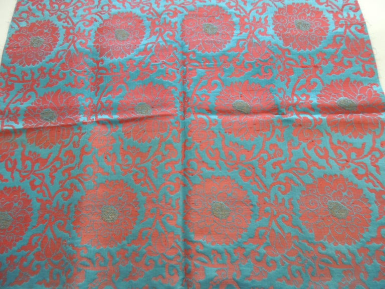 Vintage floral red and turquoise silk woven obi textile.