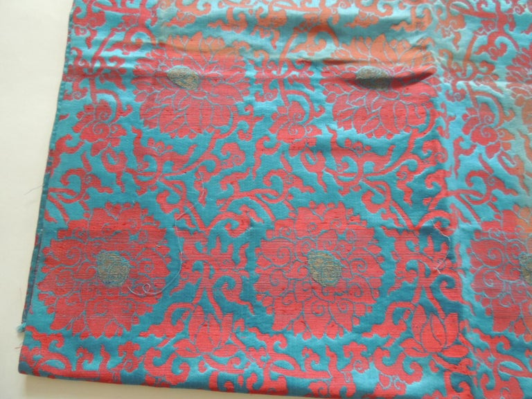 Vintage floral red and turquoise silk woven obi textile. Chrysanthemum flowers over circles. Ideal for pillows, upholstery or shades. Size: 29.5
