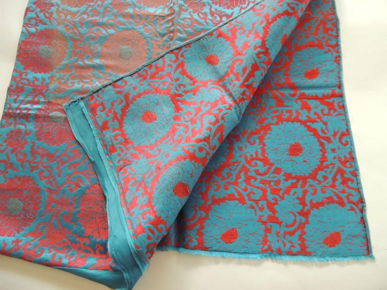Japonisme Vintage Floral Red and Turquoise Silk Woven Obi Textile For Sale