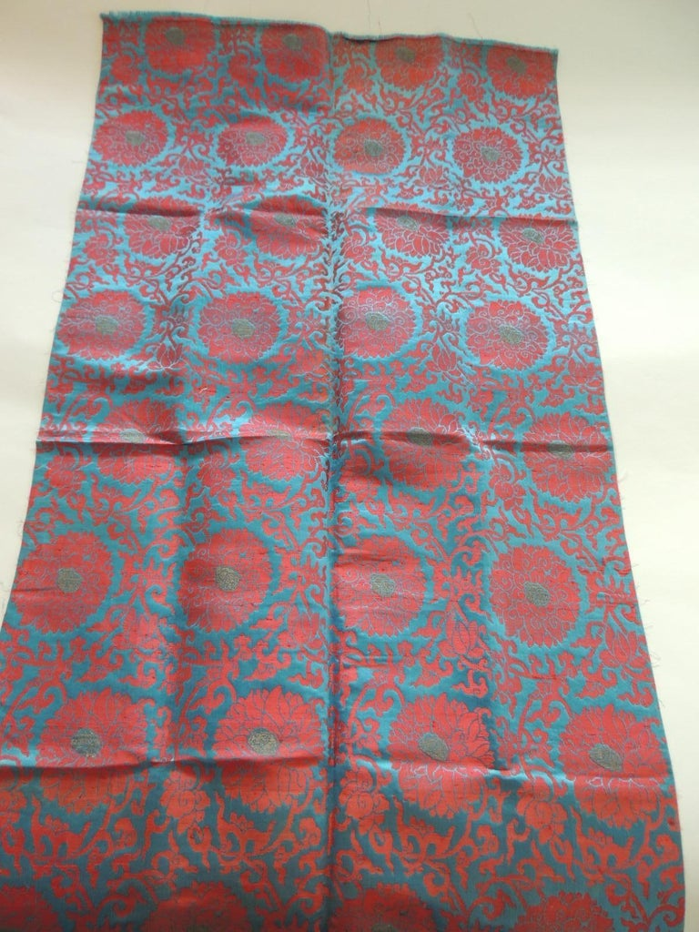 Japanese Vintage Floral Red and Turquoise Silk Woven Obi Textile