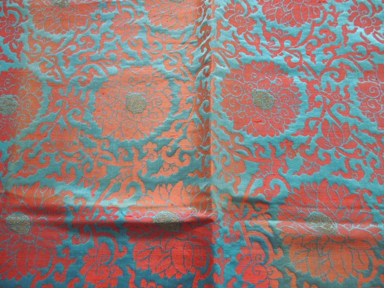 Japanese Vintage Floral Red and Turquoise Silk Woven Obi Textile For Sale