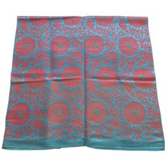 Vintage Floral Red and Turquoise Silk Woven Obi Textile