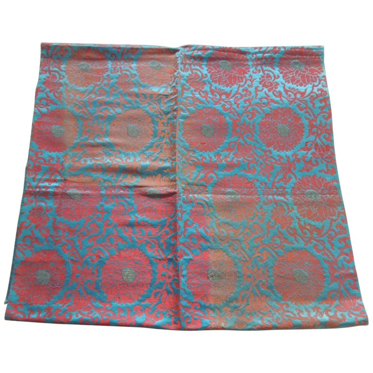 Vintage Floral Red and Turquoise Silk Woven Obi Textile For Sale
