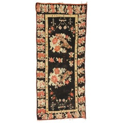 Vintage Floral Turkish Kilim Rug with Chintz Style and Bessarabian Rose Design