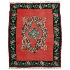 Vintage Floral Turkish Kilim Rug, Flat-Weave Rose Kilim Rug