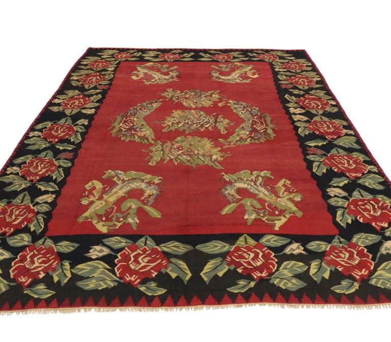 Vintage Floral Turkish Kilim Rug, Flat-Weave Rose Kilim