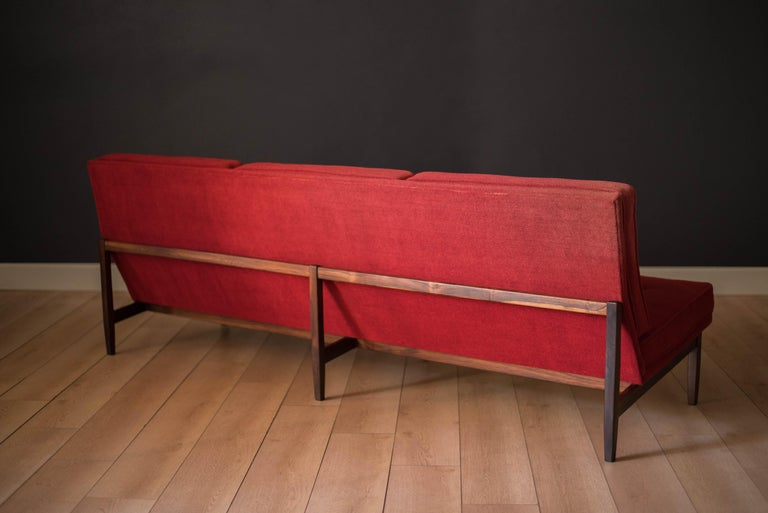 Vintage Florence Knoll Three-Seat Rosewood Sofa For Sale 7