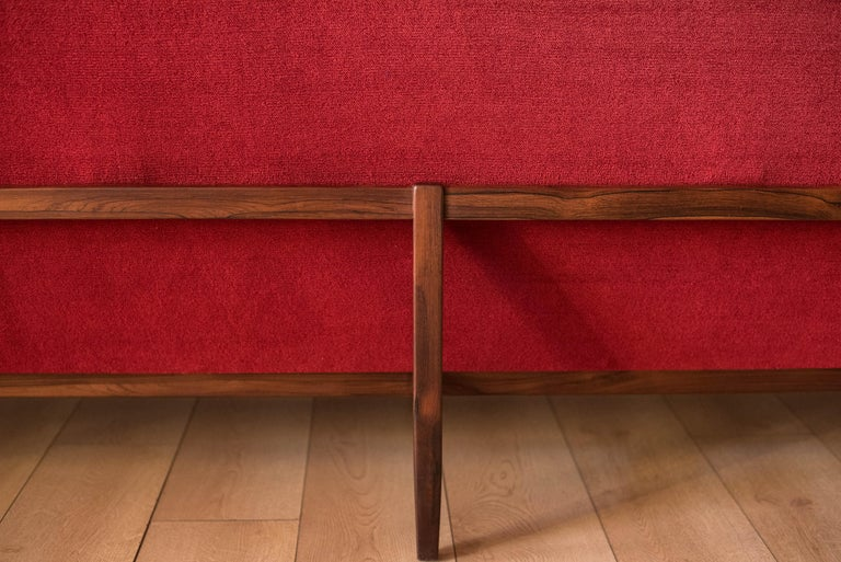 Vintage Florence Knoll Three-Seat Rosewood Sofa For Sale 9