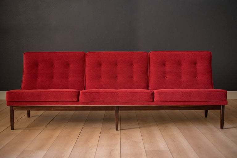 Mid-Century Modern Vintage Florence Knoll Three-Seat Rosewood Sofa For Sale