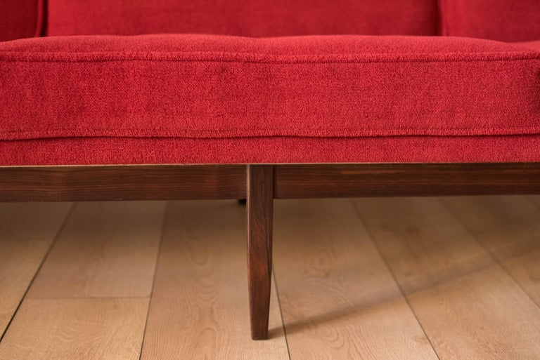 Mid-20th Century Vintage Florence Knoll Three-Seat Rosewood Sofa For Sale