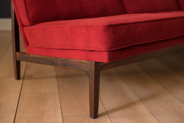Vintage Florence Knoll Three-Seat Rosewood Sofa For Sale 1