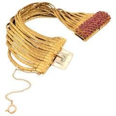 Vintage Florentine Finish Gold and Ruby Multi-Strand Spaghetti Link Bracelet